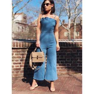 Pants - 🆕Monarch Blue Denim Cropped Jumpsuit